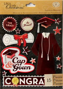 K & Company Life's Little Occasions Red Cap & Gown Dimensional Stickers Medley