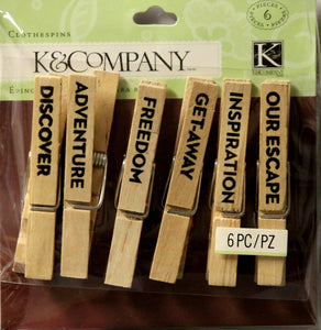 K & Company Travel Clothespins Embellishments