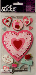 Sticko Layered Hearts Dimensional Glittered Stickers