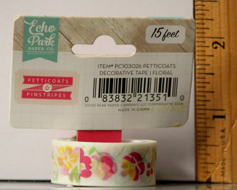 Echo Park Petticoats & Pinstripes Floral Decorative Washi Tape