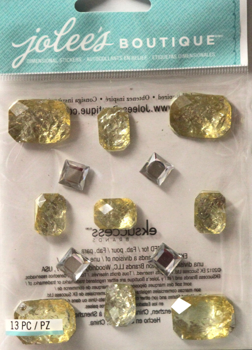 Jolee's Boutique Foil Jewels Yellow Diamond Adhesive Dimensional Stickers