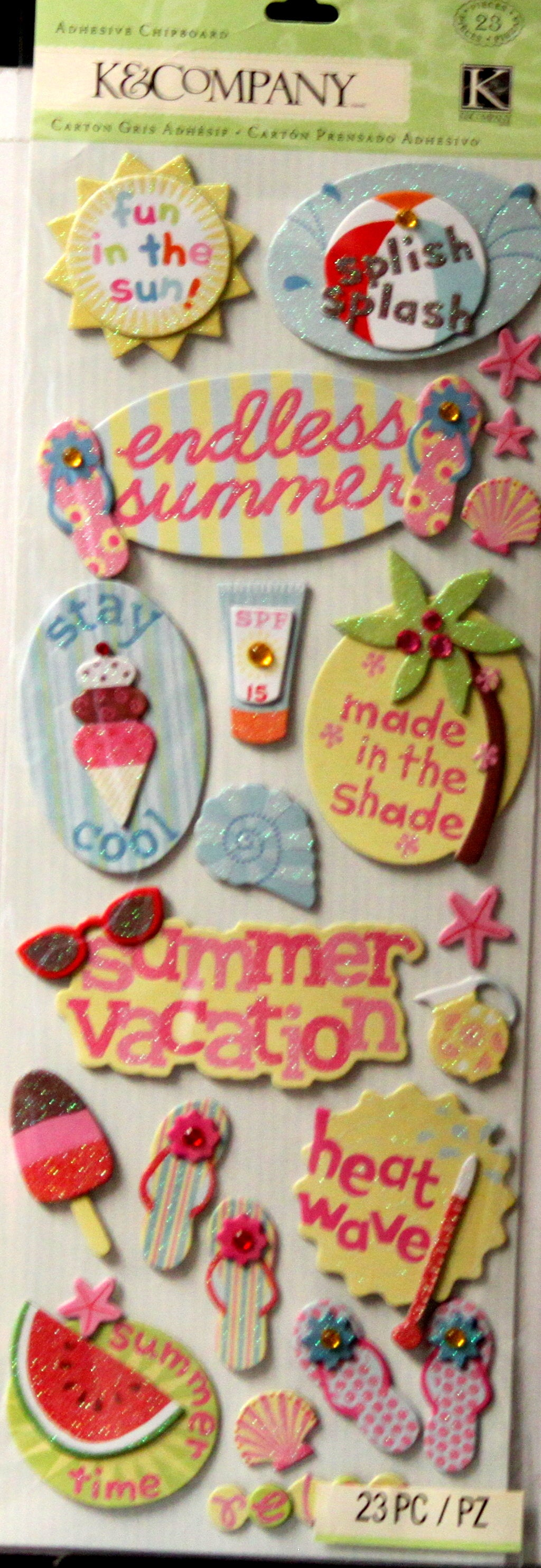 K & Company Summer Fun Play Adhesive Chipboard Stickers