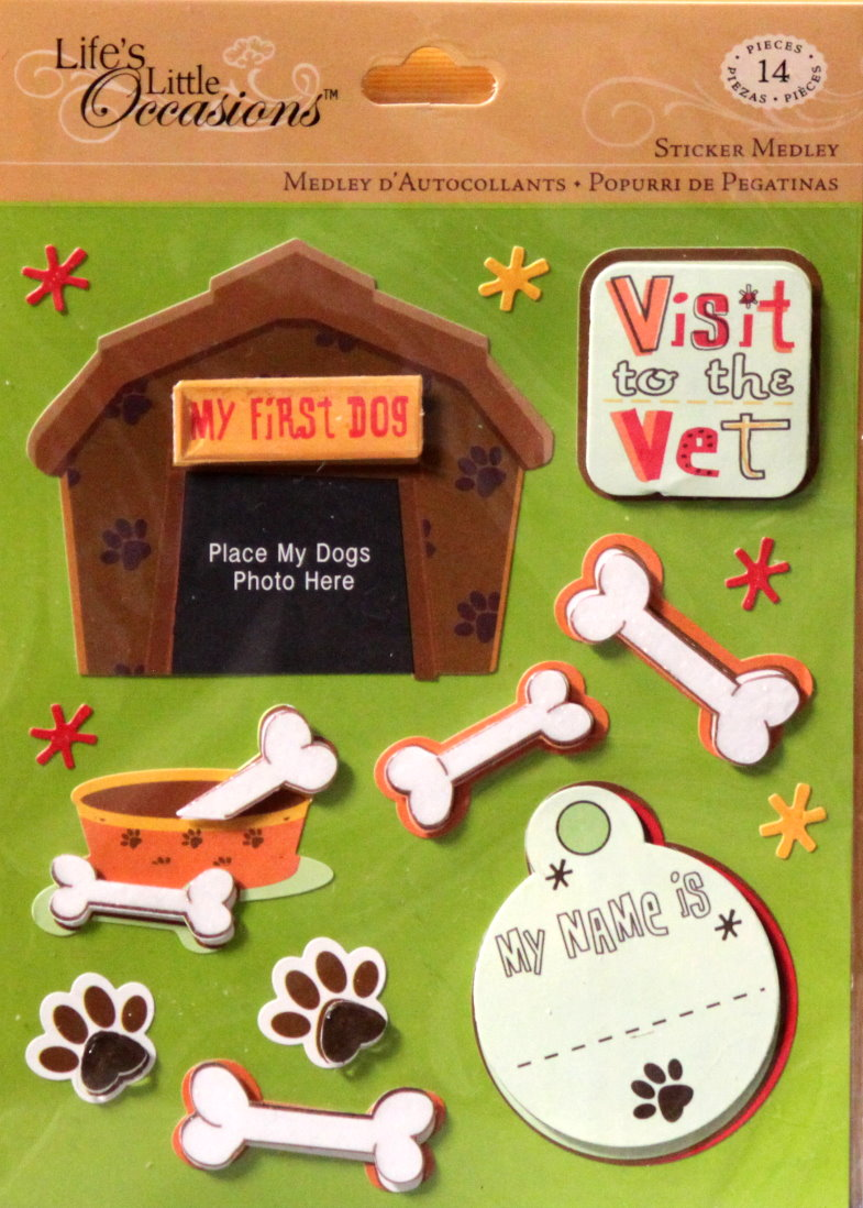 K & Company Life's Little Occasions Pet Firsts Dog Dimensional Stickers Medley