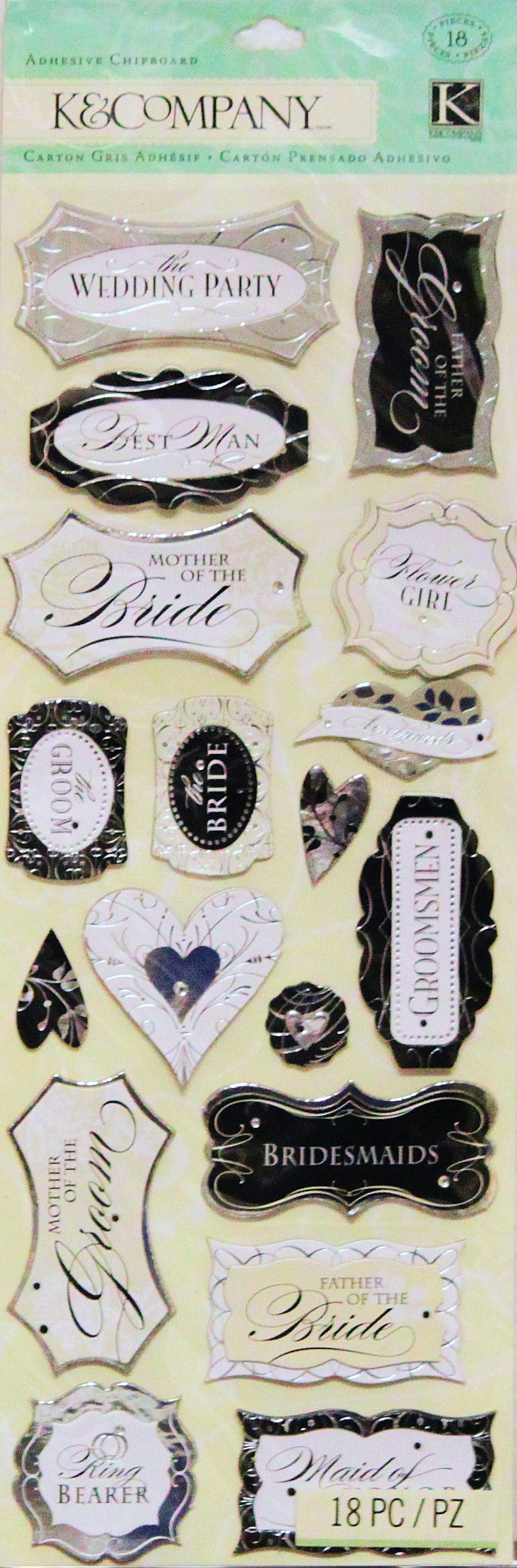 K & Company Forever Yours Large Chipboard Stickers