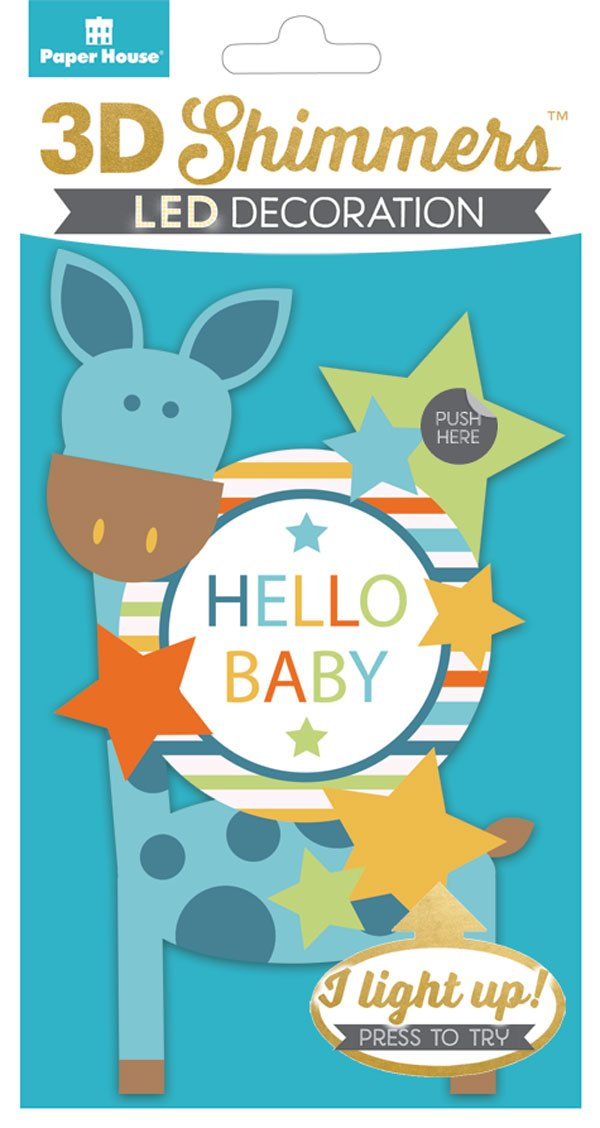 Paper House 3D LED Hello Baby Shimmer Embellishment