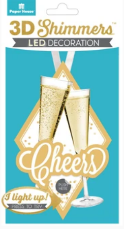 Paper House 3D LED Cheers Shimmer Embellishment