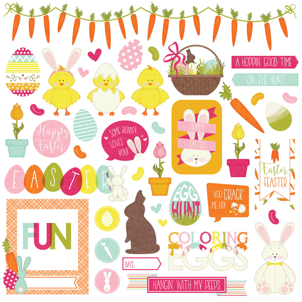 Photoplay Hoppy Easter 12 x 12 Element Sticker Sheet