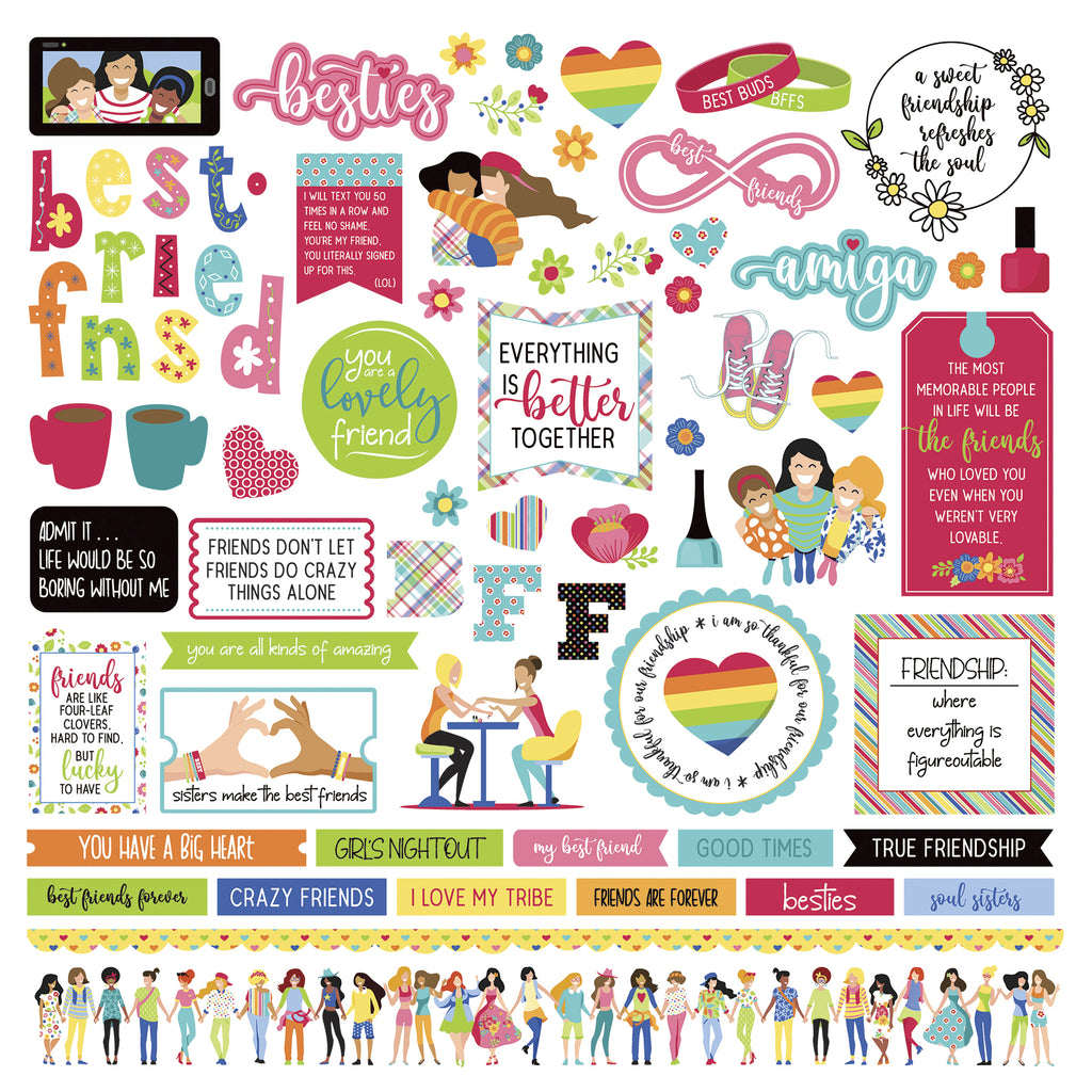 Photoplay Best Friends 12 x 12 Element Sticker Sheet