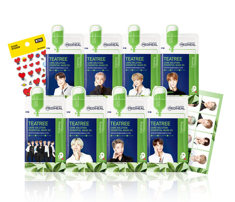 MEDIHEAL x BTS Tea Tree Mask Sheets (8EA) + Love Me Pocket + BT21 Sticker Set