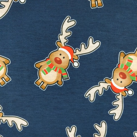 FS076 Red Snowman and Tree Xmas Fabric