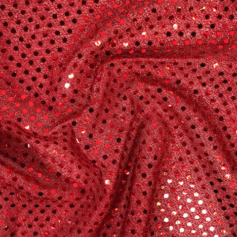 FS585_5 Red Poly Jersey 3MM Sequins