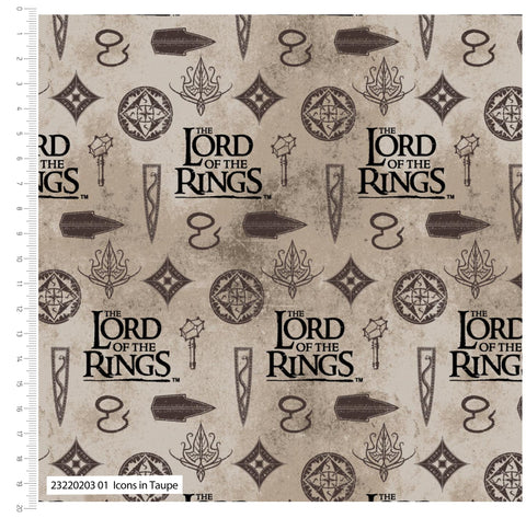 PREORDER - FS982_3 Lord The Of The Rings Icons in Taupe - Cotton