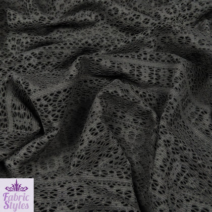 FS003 Black Crochet Design Jersey Fabric
