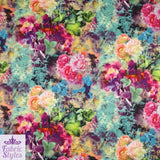 FS004_1 Pink Purple Summer Floral Print Scuba Fabric | Fabric Styles