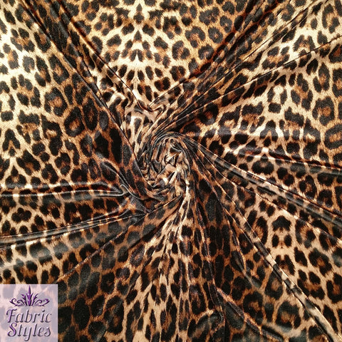 FS005_5 Leopard Crushed Velvet Fabric | Fabric Styles