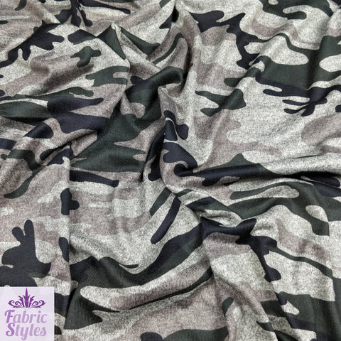 FS012_2 Camouflage Green Army Print Grey Cut & Sew Fabric