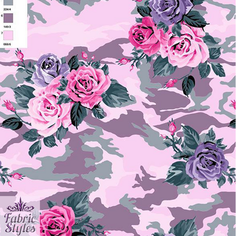 FS028_3 Pink Camouflage Floral | Fabric Styles