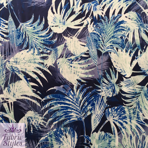 FS033 Blue Tropical Floral Scuba Fabric | Fabric Styles