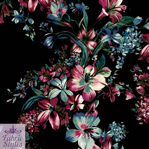 1.7m FS068_1 Floral Black Background Scuba | Fabric Styles