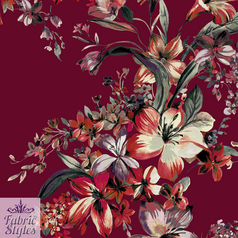 FS068_2 Floral Wine Background Scuba | Fabric Styles