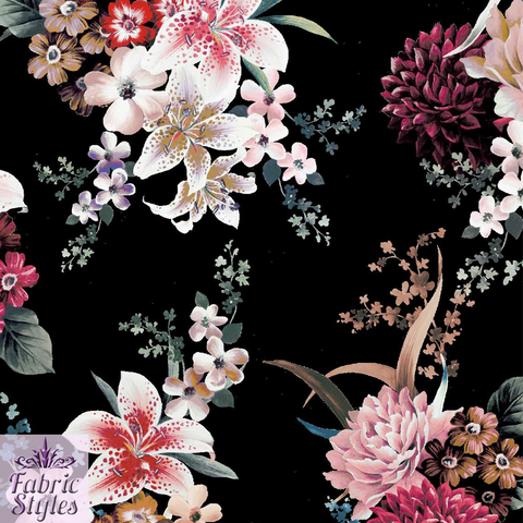 FS069 Floral Black Background Scuba | Fabric Styles