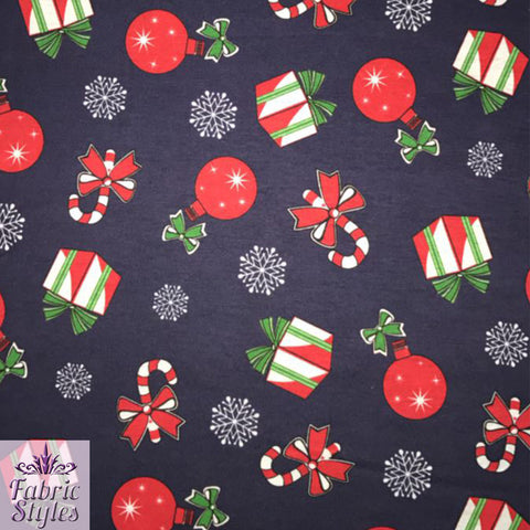 FS080 Christmas Bauballs Presents Candy -Jersey Spun Polyester Fabric- Navy Base | Fabric Styles