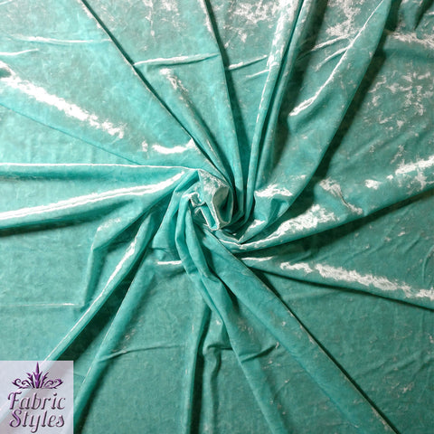 FS083_4 Crushed Velvet Velour Fabric Mint | Fabric Styles