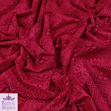 FS084 Red Crochet Design Jersey Fabric