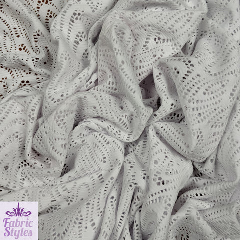 FS085 White Crochet Design Jersey Fabric