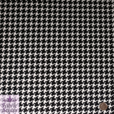 FS086 Black White Dogtooth Scuba Fabric | Fabric Styles