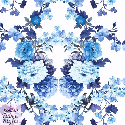 FS090_2 Blue Floral Scuba Fabric | Fabric Styles