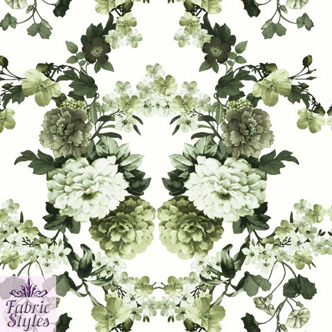 FS090_3 Green Floral Scuba Fabric | Fabric Styles