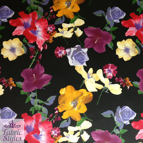 FS093 Floral Black Base Scuba Fabric | Fabric Styles