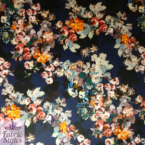 FS094_1 Floral Navy Base Scuba Fabric | Fabric Styles
