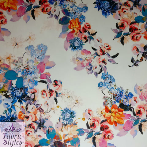 FS094_2 Floral Ivory Base Scuba Fabric | Fabric Styles