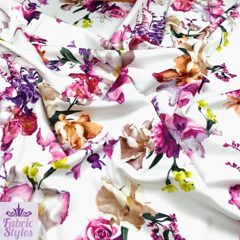 FS095_2 Floral White Base Scuba Fabric | Fabric Styles