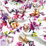 FS095_2 Floral White Base Scuba Fabric