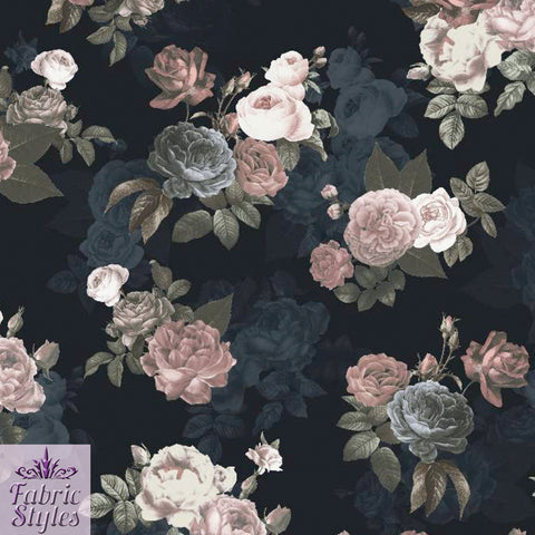 FS099 Black Base Floral Print | Fabric Styles