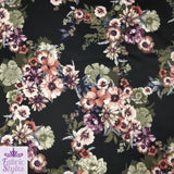 FS100_1 Black Base Floral Print | Fabric Styles