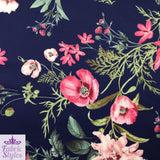 FS101_2 Navy Base Floral Print | Fabric Styles