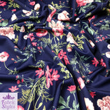 FS101_2 Navy Floral Scuba Fabric Jersey