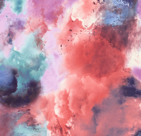 FS116_2 Pink Orange Powder Paint Cloud Print