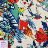 FS117_2 Floral Tattoo Vintage Cards Print Scuba Fabric | Fabric Styles