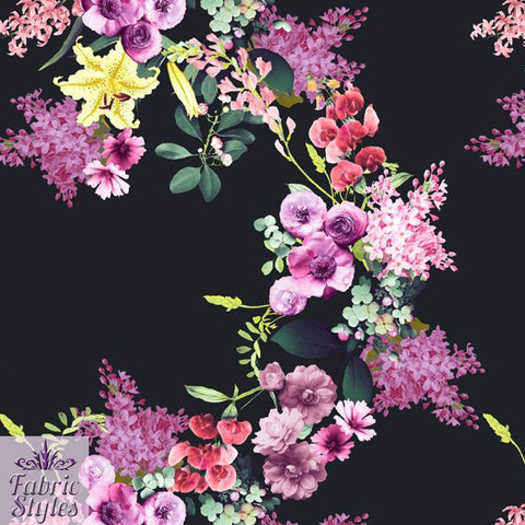 FS119 Black Base Floral Print | Fabric Styles