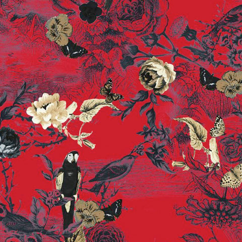 FS122 Red Floral Oriental w/Birds | Fabric Styles