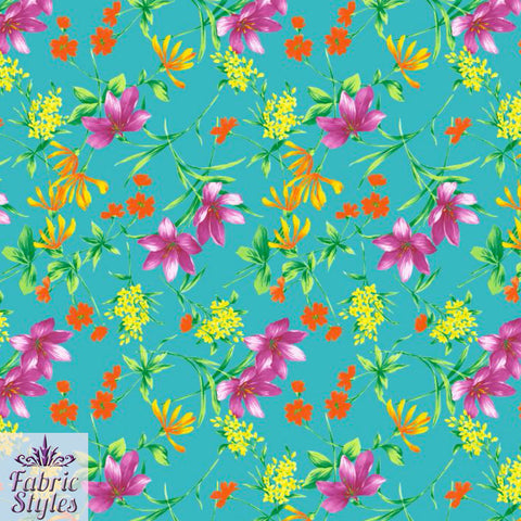 FS123_1 Turquoise Base Floral | Fabric Styles