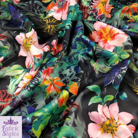 FS126 Tropical Floral Scuba Fabric