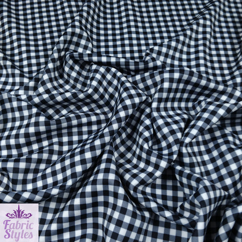 FS130_1 Black Gingham Print Checked | Fabric Styles