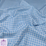 FS130_3 Blue Gingham Print Checked | Fabric Styles