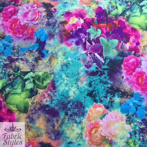 FS004_1 Pink/Purple Summer Floral Print | Fabric Styles